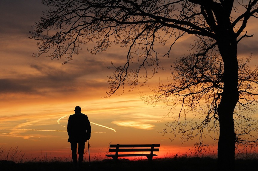 solitary man with cane watching sunset
