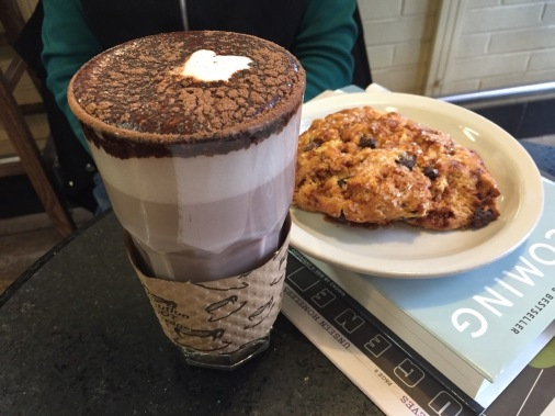 Hot chocolate and toffee scone