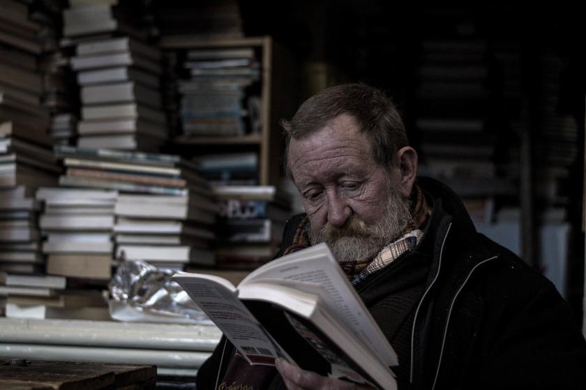 Retired man reading