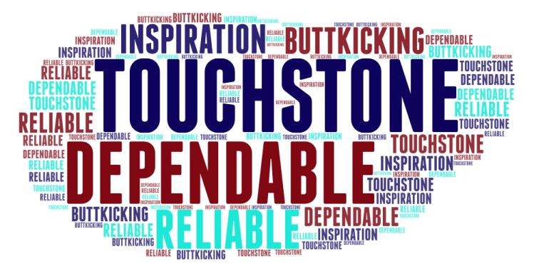 word cloud including words touchstone dependable reliable