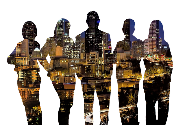 silhouettes of five people facing away from viewer