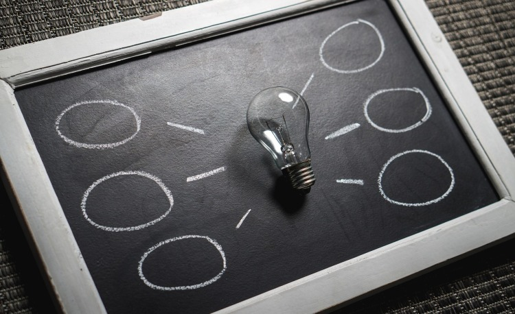 light bulb resting on a chalkboard surrounded by a mind map