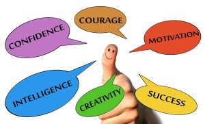 thumbs up surrounded by words courage motivation success creativity intelligence confidence