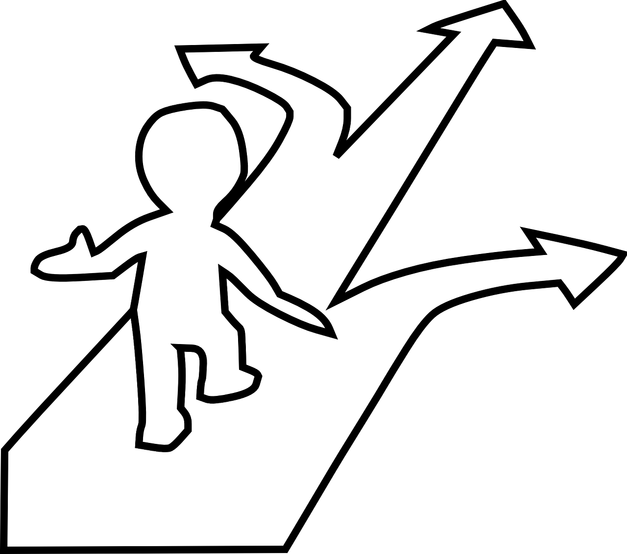 outline of person facing a choice of three directions/arrows