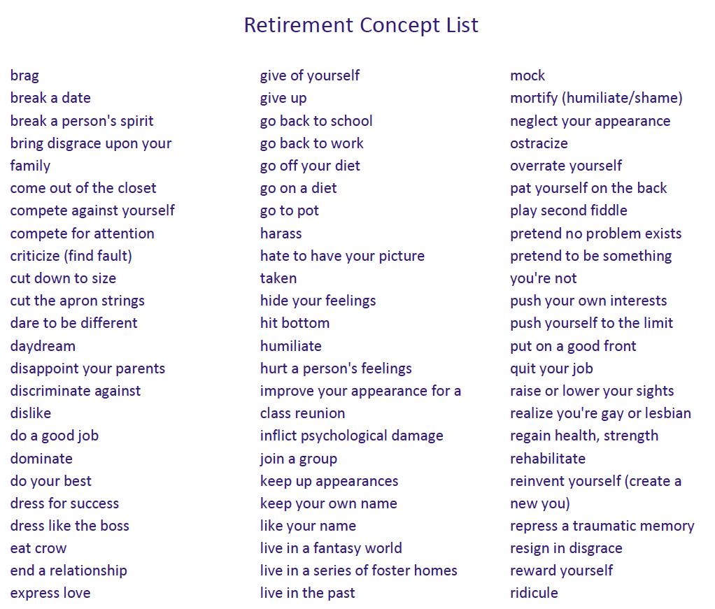 retirement concept list screenshot 2