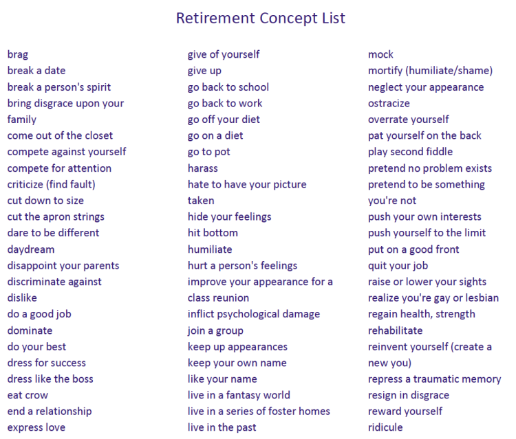 retirement concept list screenshot 2