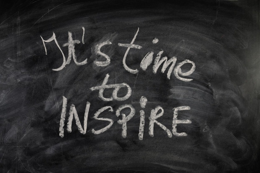 its time to inspire chalkboard message