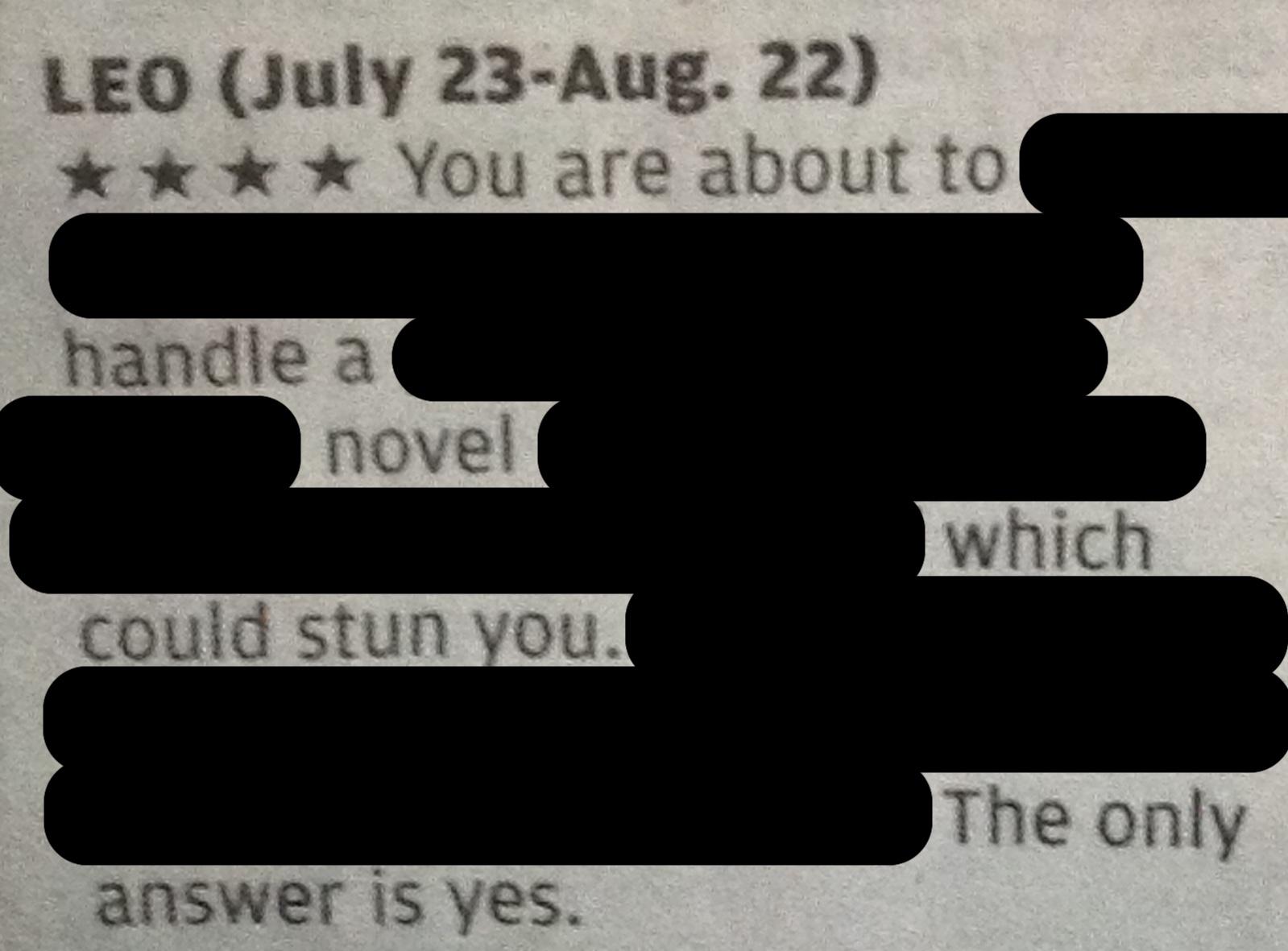 Blackout Horoscope handle a novel